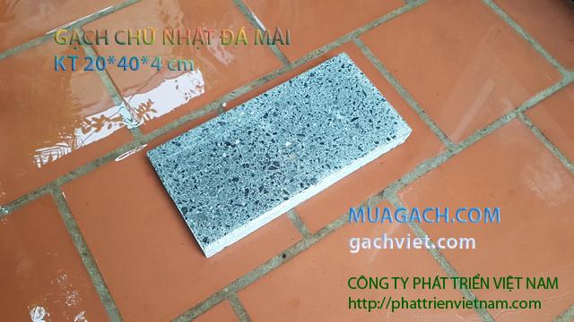 Gạch bê tông chữ nhật đá mài lót sân vườn vỉa hè 20x40